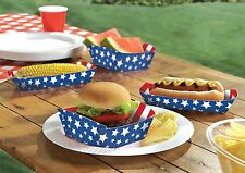 """4th of July Stripes & Stars Disposable Paper Food Trays (16 Pack), 10.6 x 8.6"""""""