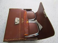 VINTAGE MEN'S VANITY BRUSH SET WITH CASE, PRISTINE AND LOVELY