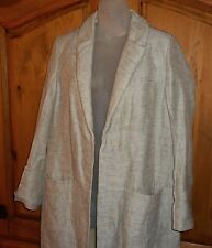 MARNI Cream/Brown Marbled Linen & Silk Trench/Duster Lined ITALY Made IT38