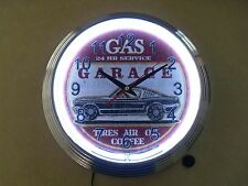 "15"" Ford Mustang Fastback White Neon Quartz Clock Gas Garage Service Station"