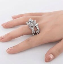 Set of 2 Rings - Flower Shape Silver Dress Ring With Diamante & Band - NEW.