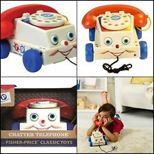 Vintage Toys Classic Chatter Phone Pull Toy Telephone Ringing Rotary Preschool
