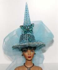 Pale Blue & Teal Butterfly Pin Fairy Salem Witch Hat #53 Doll Bottle Ornament