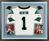Cam Newton Carolina Panthers Deluxe Framed Autographed White Jersey - Fanatics