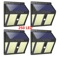250 LED Solar Powered Wall Lights Outdoor PIR Motion Sensor Garden Security Lamp