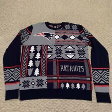 New England Patriots All Over Pattern Christmas Sweater Xmas NFL Football Medium
