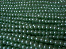 ** Glass Pearl Beads –  4.0mm diam Sage Green - 400 pcs (2 x 200pc Strands)**