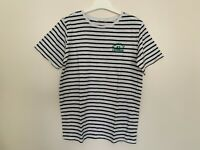 """H M Age 14 Years T-Shirt Navy and White Stripe Short Sleeve PTP 19"""""""