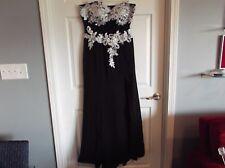 EUC Grace Karin black with white lace & beading formal evening wear. BEAUTIFUL !