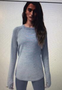 Lululemon Sit in Lotus Sweater Merino Wool Heathered Medium Gray Womens Size 6