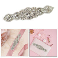 Silver Pearl Rhinestone Diamante Crystal Motif Applique Patch for Wedding Dress