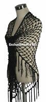 Exotic Handmade Crochet Net Triangular Shawl Wrap Hip Scarf w/ Sequins, Black