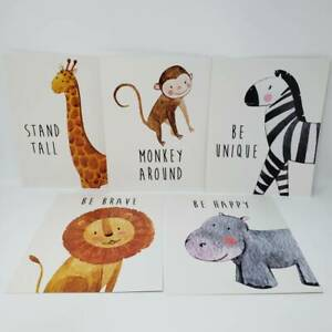 (5 Pack) Safari Animal Art Prints 8 x 10 in. 5 Designs (Giraffe, Zebra, Lion, Hi