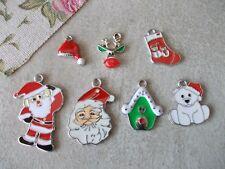 Pack 6 or7 Christmas Charms,Pendant,Xmas jewellery craft making, Santa,Stocking,
