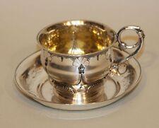 Early American 900 Coin Silver Presentation Teacup Tea Cup & Saucer 205.4 Grams