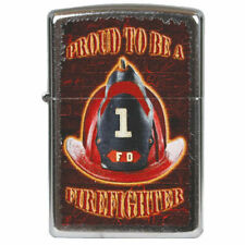 FD Proud To Be A Firefighter Fire Fighter Zippo Lighter Brushed Chrome