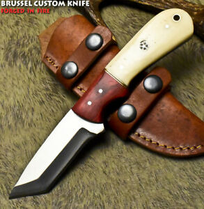 Brussel Handmade D2 Tool Steel Camel Bone Art Hunting Skinner Knife