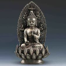 COLLECTIBLE CHINESE SILVER COPPER HANDWORK CARVED BUDDHA STATUE