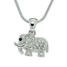 ELEPHANT Baby Made With Swarovski Crystal Good Luck Pendant Necklace