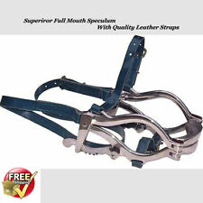 Equine Superior Full Mouth Speculum Horse Mouth Gag Stainles Steel Leather Strap