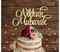 NIKKAH MUBARAK GLITTER CAKE TOPPER ISLAMIC WEDDING, BRIDAL