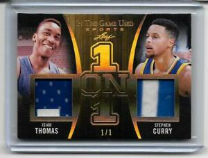 Isiah Thomas Stephen Curry 2020 Leaf In The Game-Used Sports Dual Patch SSP #1/1