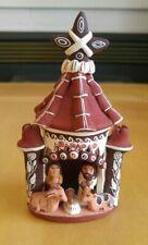 HANDMADE Folk Art PERUVIAN Nativity Scene DIORAMA Ceramic Clay Miniature STABLE