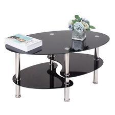 Coffee Tea Table Oval Glass Side Black Chrome Legs Living Room Cafe  Lounge Bar