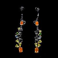 Orange Opal Earrings Silver 925 Sterling Beauty Rainbow  /E37985