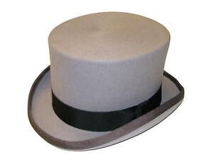 New Gents Wedding Ascot Event 100% Wool Grey Felt Top Hat Satin Lined Handmade