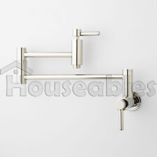 """21"""" Modern Retractable Double Joint Spout Wall Mount Pot Filler Polished Nickel"""
