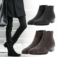 Mens Flats Punk Faux Suede Pointy Toe Chelsea Ankle Riding Boots Zip Shoes HOT