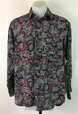 Men's Vintage 80s Long Sleeve Button Up Shiny Leaf/Paisley Shirt