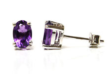 9ct White Gold Amethyst Studs Earrings Gift Boxed Made in UK Christmas Xmas Gift