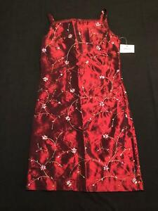 NWT Dimples Los Angeles Girls Maroon Satin Floral Formal Dress Size 8
