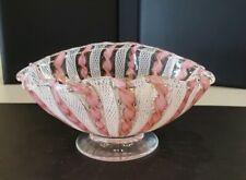 Murano Pink White Latticino Ribbons Italian Art Glass Footed Dish