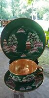 Vintage Japan  Green Hand Painted MountainCup & Saucer & Bread and Butter plate.
