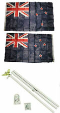 3x5 New Zealand 2ply Flag White Pole Kit Set 3'x5'