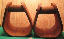 Antique Used Bent Oak Western pair High Back Wooden Saddle Stirrups MAKE OFFER