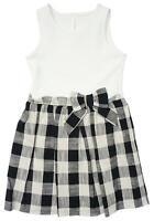 Girls Check Skirt Waffle Bodice Sleeveless Summer Sun Dress 5 to 14 Years