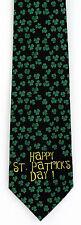 NEW! Happy St. Patrick's Day Sm. Shamrocks Clovers Holiday Novelty Necktie  3402
