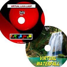 VIRTUAL WATERFALL & LAVA LAMP GREAT 2 DVD VIDEO SET VIEW ON FLATSCREEN TV/PC NEW
