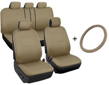 Car Seat Covers Front/Rear + Leather Steering Wheel Cover Universal Beige Tan
