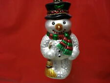 Snowman Ornament Glass Snowman With Broom Old World Christmas 24013