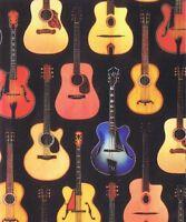 Fat Quarter Acoustic Guitars Music 100% Cotton Quilting Fabric