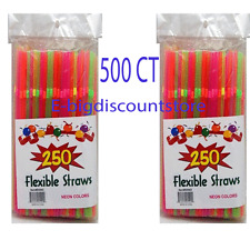 500 STRAW Bendable Flexible Plastic DRINKING Party Bendy Straw Neon Assort Color