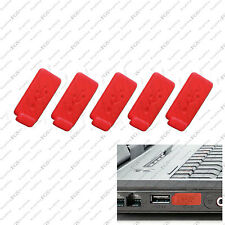 5 x RED Color RUBBER SILICONE ANTI-DUST USB PLUG COVER STOPPER for PC Laptop