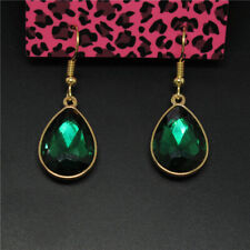 Hot Green Bling Large Crystal Water Drop Betsey Johnson Women Stand Earrings