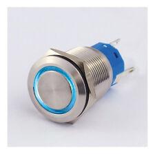 Druckschalter Edelstahl IP67 19mm LED Ring Blau Schließer Öffner 5A Löten 8311