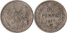 1917 Finland (Russian) 50 Pennia Silver Coin Civil War Coinage Kerenski KM#20